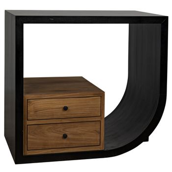 """Burton Side Table, Right, Hand Rubbed Black Mahogany And Teak, Available in both left and right formats, 30""""W x 20""""D"""