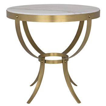 """Side Table, Modern & Timeless Antique Brass & Stone, industrial style base, Stone Slab Top, 30""""W x 30""""D"""