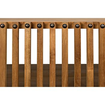 """Console, Solid Teak, Unique slatted style with open front, 66.5""""W,"""