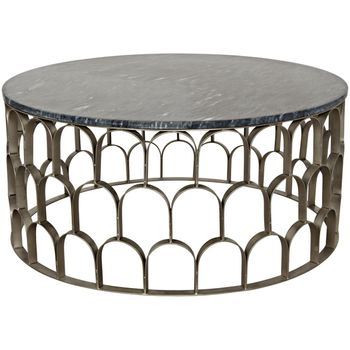 Mina Coffee Table, Antique Silver, Metal And Stone