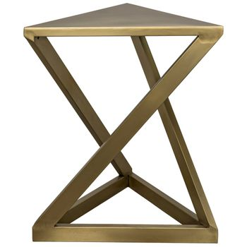 """Side Table, Abstract Triangular Style in Antique Brass Finish, 19""""W x 19""""D"""