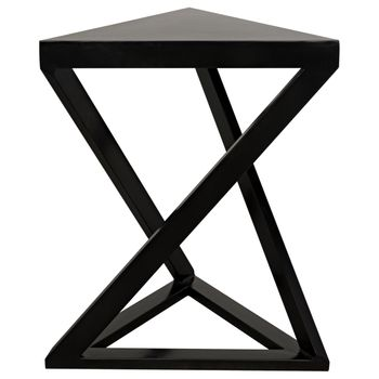"""Side Table, Abstract Triangular Style in Black Metal, 9""""W x 19""""D"""