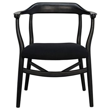 Dining Chair, Hand-Carved Curved Sungkai Wood, with Black Cotton Seat