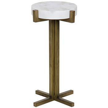 Sardo Side Table, Antique Brass, Metal And Quartz