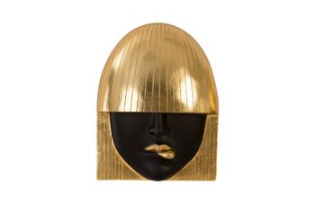 Fashion Faces Wall Art, Small, Black And Gold Leaf, Set Of 3