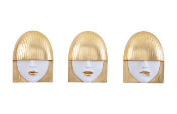 Fashion Faces Wall Art, Small, White And Gold Leaf, Set Of 3