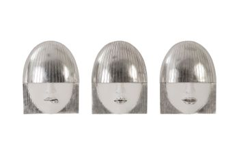 Fashion Faces Wall Art, Small, White And Silver Leaf, Set Of 3