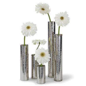 Hammered Bud Vase Set (Polished Nickel)