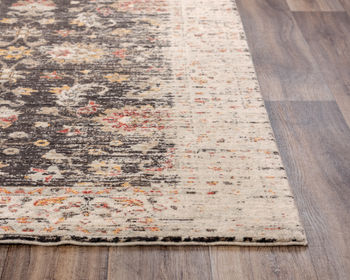 Rug, 100% New Zealand Wool, Softened Classic Floral Design, Brown/Beige, 8' X 10'
