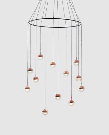 Dora Pendant 12 lights With Ring, Copper