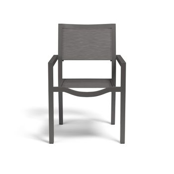 Stackable Sling Dining Chair, White Resin Wicker
