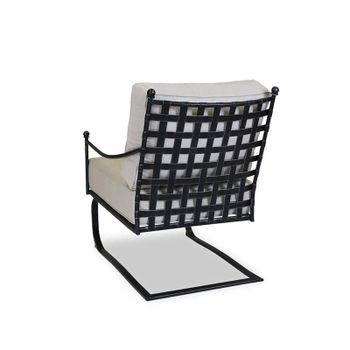 Club Rocker, Canvas flax, wrought iron, resin wicker woven back emulating basket weave, antique Pewter finish.