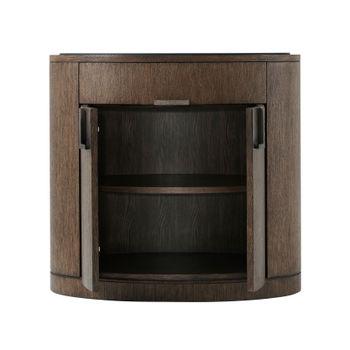 """Nightstand, 28""""H x 30""""W Modern curves, Hair On Hide paneled drawers, Mahogany Parquetry, Oak Veneer, Marble top, Hammered Metal Handle"""