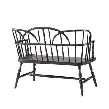 """Settee, 47""""W  Rustic, painted Mahogany, inspired by 18th century Hickory original"""