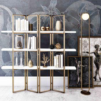 "Bookcase, CONCRETE shelves, Accordion Frame in Antique Brass Finish, 63""W x 71""D"