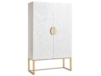 Bar Cabinet, Luxurious Pearl Overlay & Soft Gold Finish, Mirrored & Lit Interior.