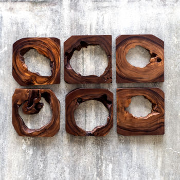 """Art, Set of 6, Organic Style Adlai Wood Collection, Handcrafted, 12"""" x 12"""""""