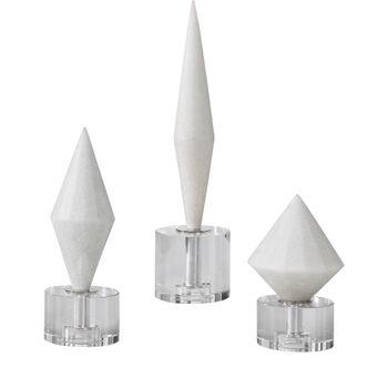 Alize White Stone Sculptures S/3