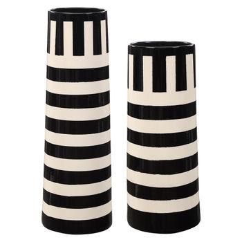 Amhara Black & White Vases, S/2