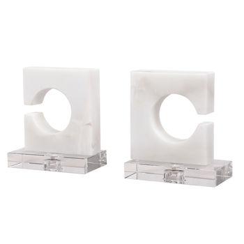 Clarin White & Gray Bookends, S/2