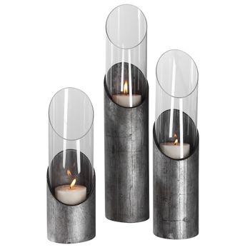 Karter Iron & Glass Candleholders Set/3