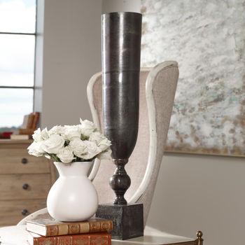 "Tall Vase, Textured Cast Aluminum Vase in Black Nickel Finish, 21""H x 6""W x 6""D"