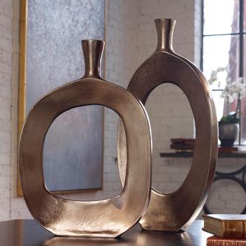 Vases Set/2, Handcrafted, Textured Cast Aluminum, Bronze Finish, 22H x 10.75W