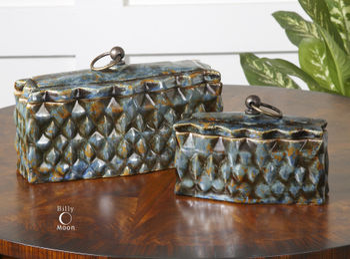 Sculptured Geometric Ceramic Boxes, Set/2