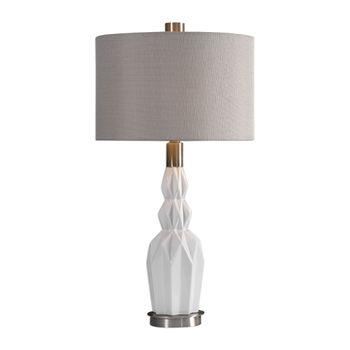 Uttermost Cabret Gloss White Ceramic Table Lamp