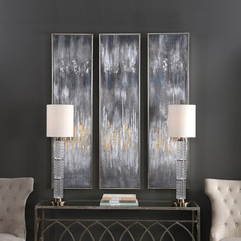 Uttermost Gray Showers Hand Painted Canvases, Set/3