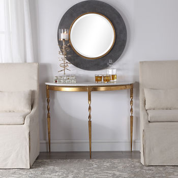 Polished White Marble Top, Antiqued Gold Finish Demilune Console