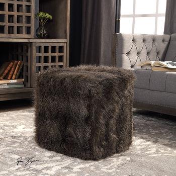 Charcoal Brown Faux Fur, Foam Ottoman