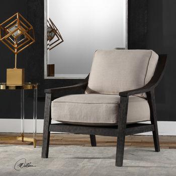 Chair, Curved Rustic Hardwood, Walnut Finish. Linen blend cushions