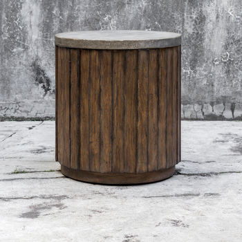 Uttermost Maxfield Wooden Drum Side Table