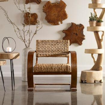 Solid Bent Wood Teak Veneer Natural Woven Chair