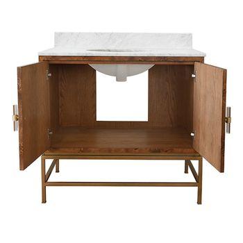 "Bath Vanity, 36.5""W, Burl wood, white Carrara marble, Lucite & antique brass, white porcelain sink."