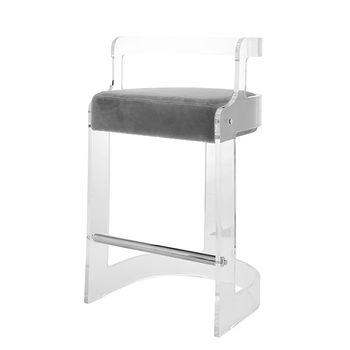 Malone Gry, Acrylic Barrel Back Counter Stool