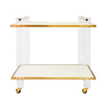 Pierce Abr, Acrylic Leg Bar, Cart, With Inset Mirror, And Antique Brass Frame