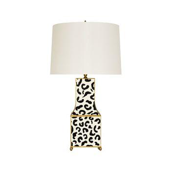 Renata Blp, Handpainted Pagoda Table, Lamp, In Blk Leopard W/ Gold Trim
