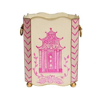Wblionsq Pagpi, Square Wastebasket With Lion Handles In Pink Pagoda