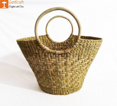 Natural Straw Oval Handbag with Multiple Patterns(#1044)-gallery-0