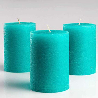 Pleasant Teal Pillar Candles Set of 3(#1097)-gallery-0