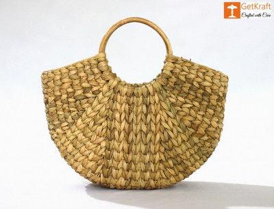 Natural Straw Hand (U) Bag(#1105)-gallery-0