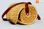 Natural Straw Cylindrical Barrel Bag With long Leather Belt(#1111) - Getkraft.com
