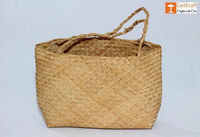 Natural Straw Seagrass Sitalpati Shopping Bag(#1113)-gallery-0