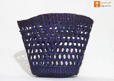 Natural Straw Kauna Fancy Basket(#1118)-gallery-0