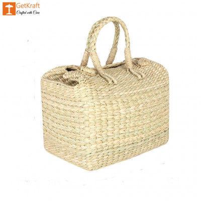 Natural Straw Kauna Grass Picnic Basket(#1144)-gallery-0
