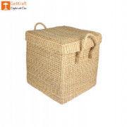 Natural Straw Kauna Grass Laundry Basket with Handle(#1146) - Getkraft.com