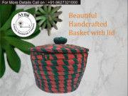 Weavers Beautiful Handmade Round Shaped Moonj Sea Grass Small Multi-Utility Storage Basket with Lid Used for Multi Storage(Green Combination)(#1166) - Getkraft.com