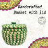 Weavers Beautiful Handmade Round Shaped Moonj Sea Grass Small Multi-Utility Storage Basket with Lid Used for Multi Storage(Green Combination)(#1168)-thumb-0